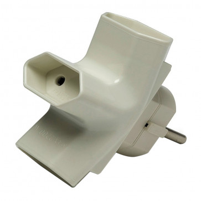 Adaptadores y multiconectores | Adaptadores triples | Adaptador bipolar triple sin TTL espiga Ø4,8 mm 10A IK07 (Famatel 1209)