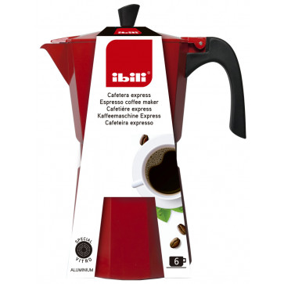Menaje cocina | Cafeteras y hervidores | Cafetera de aluminio Bahia Red 6 tazas (Ibili 612306)