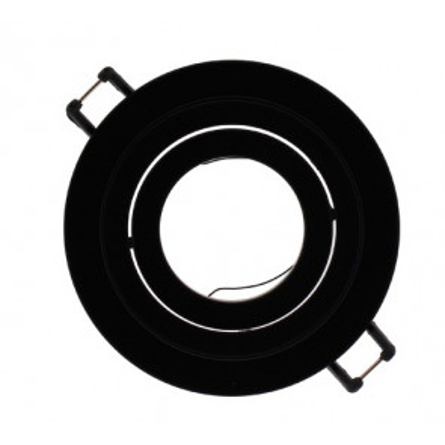 Aro empotrable basculante de aluminio redondo negro  Helium 93x25mm. (Cristal Record 01-010-80-180)