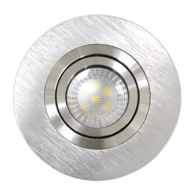 Aro empotrable basculante de aluminio níquel satín GU10 Skip Maxi ø110x28mm. (Jueric 10283)