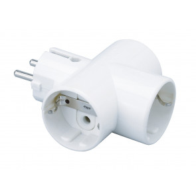 Adaptador triple TTL interior porcelana blanca 3680W (F-BRIGHT 1101070/B) (Blíster)