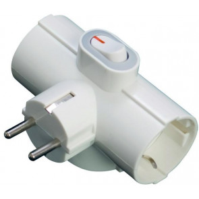 Adaptador triple TTL con interruptor blanco 3500W GSC 1101073 - 250V 10/16A