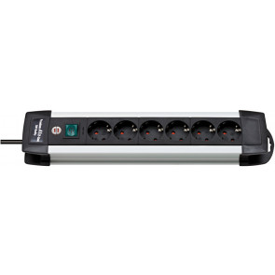 Base múltiple Premium Alu Line aluminio con interruptor  6 tomas 3m. 3x1,5mm. (Brennenstuhl 1391000016)