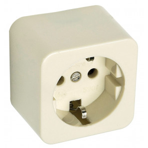 Base de superficie cuadrada TTL blanco Famatel 2301 - 250V 16A 55x55mm.
