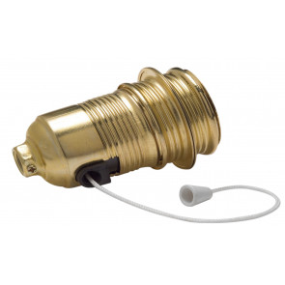 Portalámparas decorativo vintage metálico roscado con interruptor de cadena E27 (Famatel 305)
