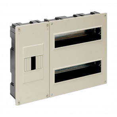 Caja para ICP y distribución de empotrar hasta 24 elementos marfil 410x270x68mm. (Solera 5203)