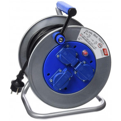 25m. extensible eléctrico metálico con tapa 3 tomas 3x2,5mm. 4000W IP55 (TAYG 785511)