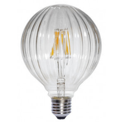 Lámpara globo filamento Led líneas clara 6W E27 2700°K (F-BRIGHT 2601981)