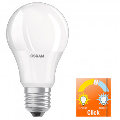 Lámpara standard Led regulable en temperatura con click E27 8W 2700-4000°K 806Lm (Osram 4058075037571) (Blíster)