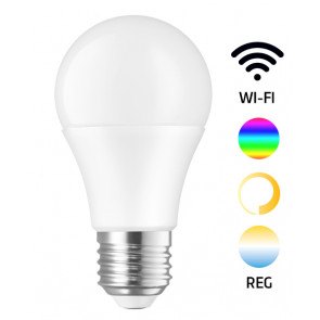 Lámpara standard Led Smart regulable RGB + 3000°K a 6500°K + intensidad 9W 850Lm (Spectrum WOJ + 14412)