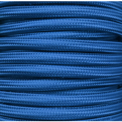Tira 5 m. cable textil decorativo azul Klein liso mate (CIR62CM16)