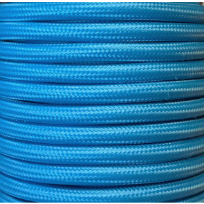 Bobina 25 metros cable textil decorativo azul celeste liso mate (CIR62CM15)