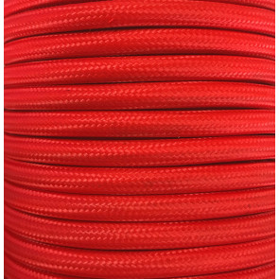 Bobina 15 metros cable textil decorativo rojo liso mate (CIR62CM24)
