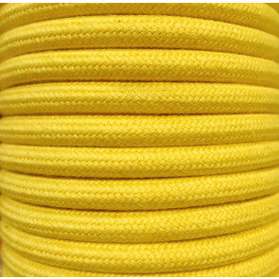 Tira 5 metros cable decorativo textil amarillo algodón liso (CIR62AL04)
