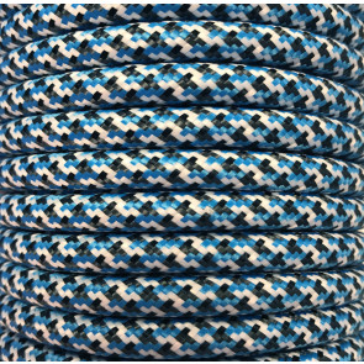 Bobina 15 metros cable decorativo textil azul oscuro pixel brillo (CIR62PI02)