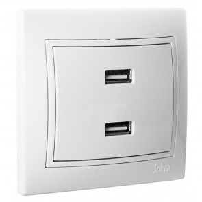 Cargador doble USB 5V serie Europa Solera (ERP2USBU)