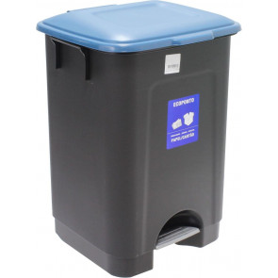 Cubo de basura con pedal azul 35L (Mader 06031)