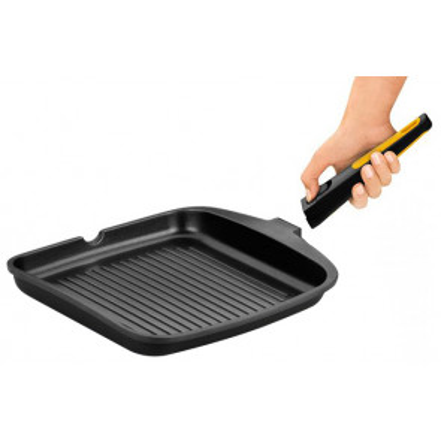 Asador grill rayado Fast click de aluminio fundido ø28cm. (Bra A481428)