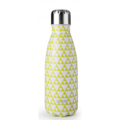 Botella termo de pared doble sin BPA inoxidable 18/10 335 ml. Mosaic Lemon (Ibili 758435U)