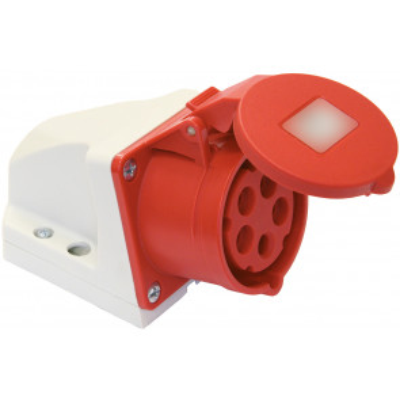 Base industrial mural de superficie baja tensión roja 3P+T IP44 400V 16A (Solera 932142)