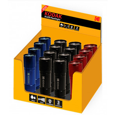 Expositor 16 linternas 9Led compactas de aluminio 2W IP63 (Kodak 30413894)