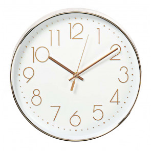 Reloj de pared blanco y rosa dorado ø30cm (Nedis CLWA015PC30RE)
