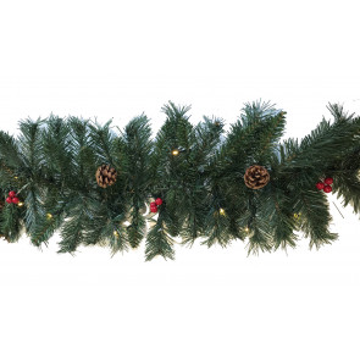 180 cm. boa navideña con piñas y bolitas rojas 30 Leds (F-Bright 00524)