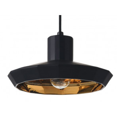 Lámpara colgante de cristal modelo Grove negro y bronce E27 230x1650mm. (Ledesma 10497)
