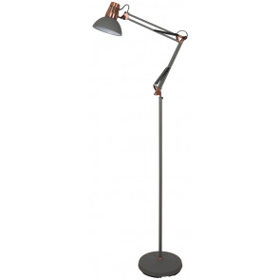 Lámpara pie salón gris y cobre modelo Gabon E27 170cm. (Ledesma 21647)