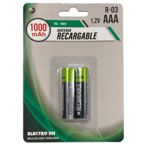 2 uds. pilas recargables HR03-AAA 1000 mAh Ni-MH (Electro DH 50.036/1000/AAA) (Blíster)