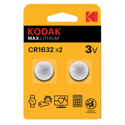 2 uds. pilas de botón Kodak Max Lithium CR1632 3V (Blíster)