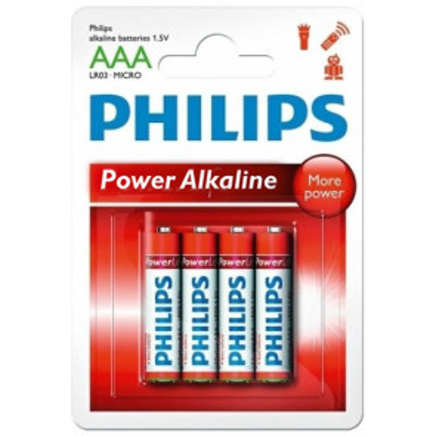 4 uds. pilas Philips Power Alkaline LR03-AAA (Blíster)