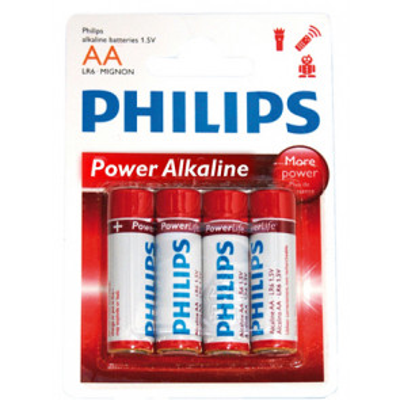 4 uds. pilas Philips Power Alkaline LR06-AA (Blíster)
