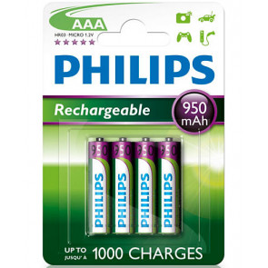 4 uds. pilas recargables Philips HR03-AAA 950 mAh (Blíster)