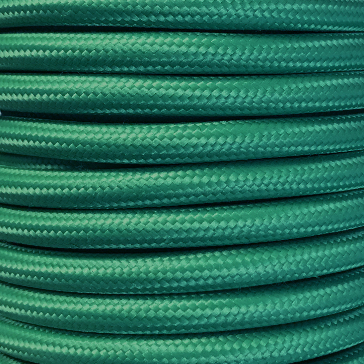 Bobina 15 metros cable textil decorativo verde liso mate (CIR62CM32)