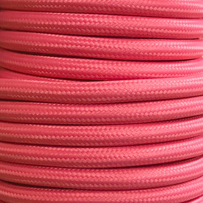 Bobina 15 metros cable textil decorativo rosa liso mate (CIR62CM36)