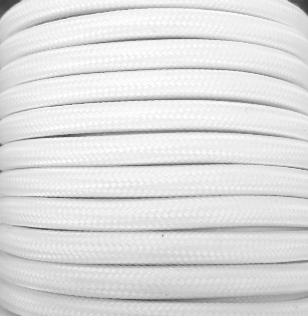 Bobina 25 metros cable textil decorativo blanco liso mate (CIR62CM01)