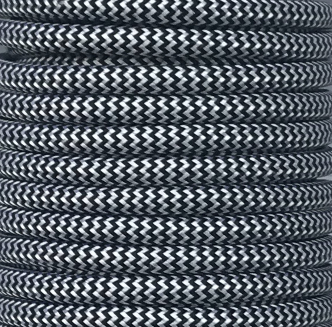 Bobina 25 m. cable textil decorativo negro/blanco Zig Zag brillo (CIR62CTS73)