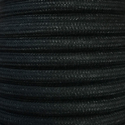 Bobina 25 metros cable textil decorativo negro liso algod�n (CIR62AL03)
