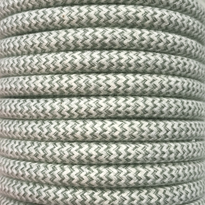Bobina 25 metros cable decorativo textil verde zig-zag algod�n (CIR62BA04)