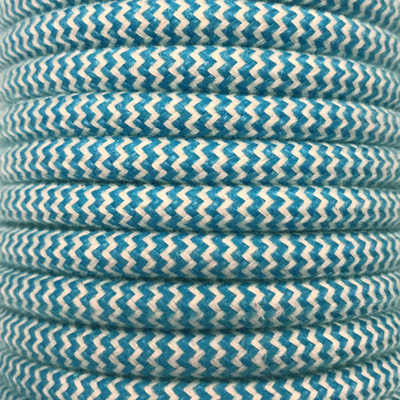 Bobina 15 metros cable decorativo textil azul algod�n zig-zag (CIR62BA13)