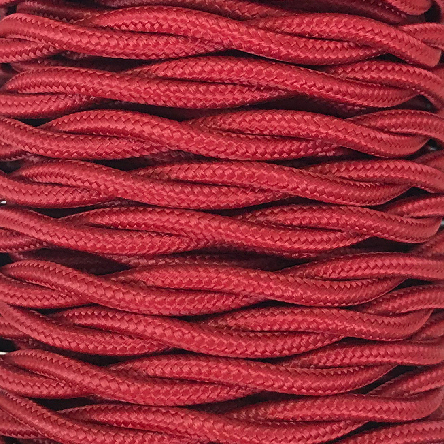 Bobina 15m. cable decorativo textil trenzado granate brillo (CABEXT2R18)
