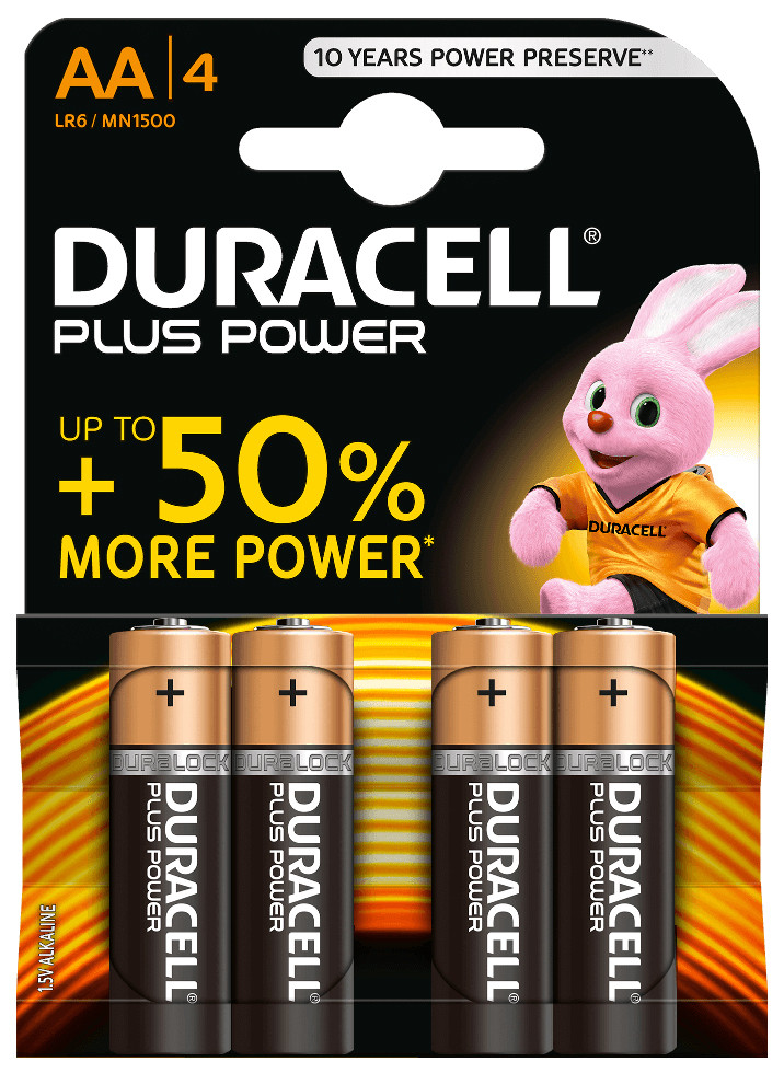 4 uds. pilas Duracell Plus alcalina LR06-AA (Bl�ster)